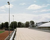 BATH UNIVERSITY SPORTS VILLAGE, UNIVERSITY OF BATH, BATH, BATH & N E SOMERSET, UK, DAVID MORLEY ARCHITECTS, EXTERIOR, TERRACE AND CAFE OVERLOOKING ATH...