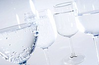 Close_up of glasses of mineral water