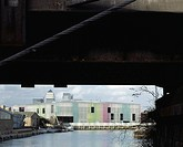LABAN, CREEKSIDE, LONDON, SE8 DEPTFORD, UK, HERZOG & DE MEURON, EXTERIOR, VIEW FROM HA'PENNY HATCH FOOTBRIDGE