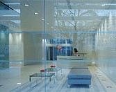 1 FINSBURY SQUARE, 1 FINSBURY SQUARE, LONDON, EC2 MOORGATE, UK, HORDEN CHERRY LEE ARCHITECTS, INTERIOR, RECEPTION WITH REFLECTIONS/ WITH FLOWERS /ART ...
