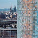 TORRE AGBAR, BARCELONA, SPAIN, JEAN NOUVEL, EXTERIOR, VIEW WITH GAUDI'S SAGRADA FAMILIA