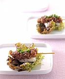 Japanese food _ skewered food and rice