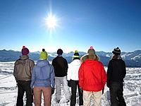 Group admiring mountain view