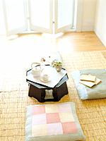 Tatami room, tea and cushion
