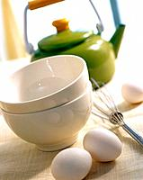 Bowl, egg and teapot