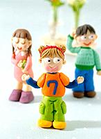 Paper clay toy, three kids