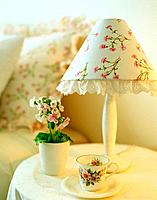 Bouquet of flowers and lamp