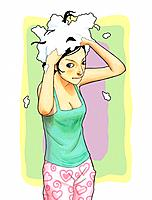 Young woman shampooing (thumbnail)