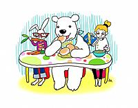 Young woman, bear and rabbit having breakfast