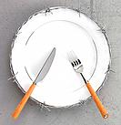 Dish, knife and fork