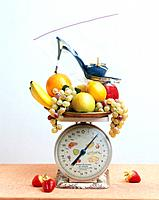 Fresh fruit and weight scale