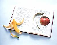 Banana, apple and book