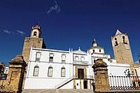 Plaza Mayor at Fregenal de la Sierra. Badajoz. Extremadura. Spain.