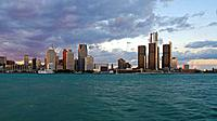 Detroit Downtown and Renaissance Center across Detroit River. Michigan, USA