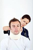 Female nurse treating a patient