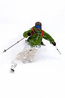 Asian man skiing