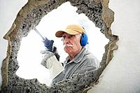 Man using hammer drill