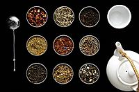 Teapot and assortment of teas