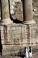 Nuns and columns in the Roman forum, Rome. Lazio, Italy
