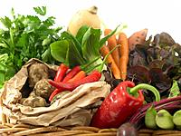 Raw Food, vegetables, Basket of Fresh Vegetables