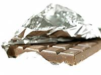 One Chocolate bar with foil wrapper