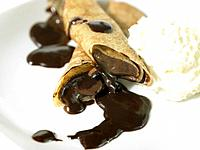 Coffee Crepes and whipped cream
