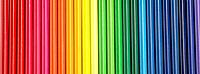 Coloured pencils in a row