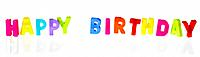 Plastic letter magnets spelling out happy birthday