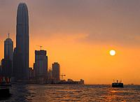 Hong Kong business district at sunset