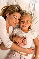 Mother and daughter relaxing
