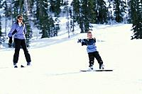 Boy Snowboards W/Mom Brian Head Ski Resort Utah