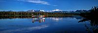 Man on Floatplane AK Range Lake Spin Fishing Summer AK Mt McKinley Southside Southcentral