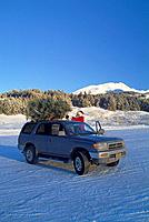 Christmas Tree Tied to Vehicle Top w/w/o Santa Claus AK SC Winter