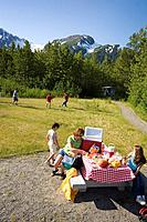 Family picnicing @ Moose Flats day use area Portage Valley Chugach National Forest Alaska