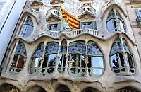 Casa Batllo by Gaudi (1904-1906) in Passeig de Gracia, Barcelona. Catalonia, Spain