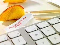 Chinese fortune cookie on desk
