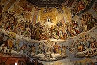 Italy, Tuscany, Florence, The Duomo Cathedral, Interior, Brunellesci dome with frescoes of the Last Judgement