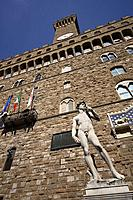 Italy, Tuscany, Florence, David Statue, Palazzo Vecchio, Piazza Della Signoria