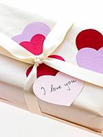 Close_up of Valentine gift box with I love you message