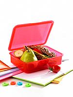 Close_up of a lunch box on a notebook