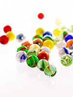 Close_up of multi_colored marble balls