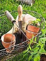 Close_up of gardening equipments in a basket