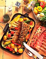 Roasted Lamb with Vegetables, High Angle View