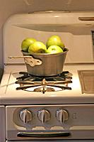 Apples in a Pot on a Vintage Stove