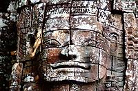 Detail of the face of Buddha Avalokiteshvara on the western tower, temple of Ta Som, Angkor, Cambodia