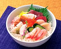 Bowl of Rice Topped with Sashimi, High Angle View