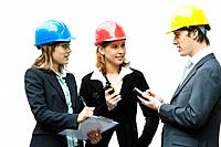 Team of young professionals on a construction site