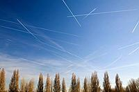 Vapour trails in the sky
