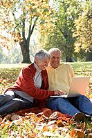 Senior couple using a laptop in a park