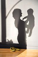 A shadow of a woman holding a baby
